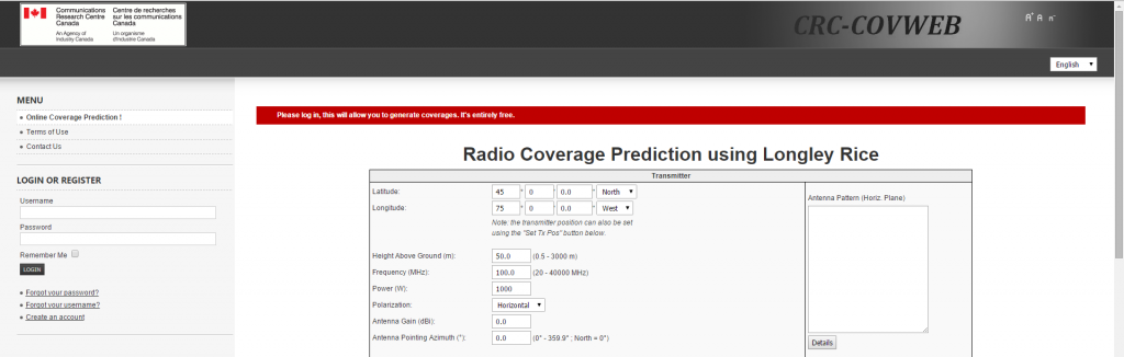 Radio Coverage Prediction using Longley Rice