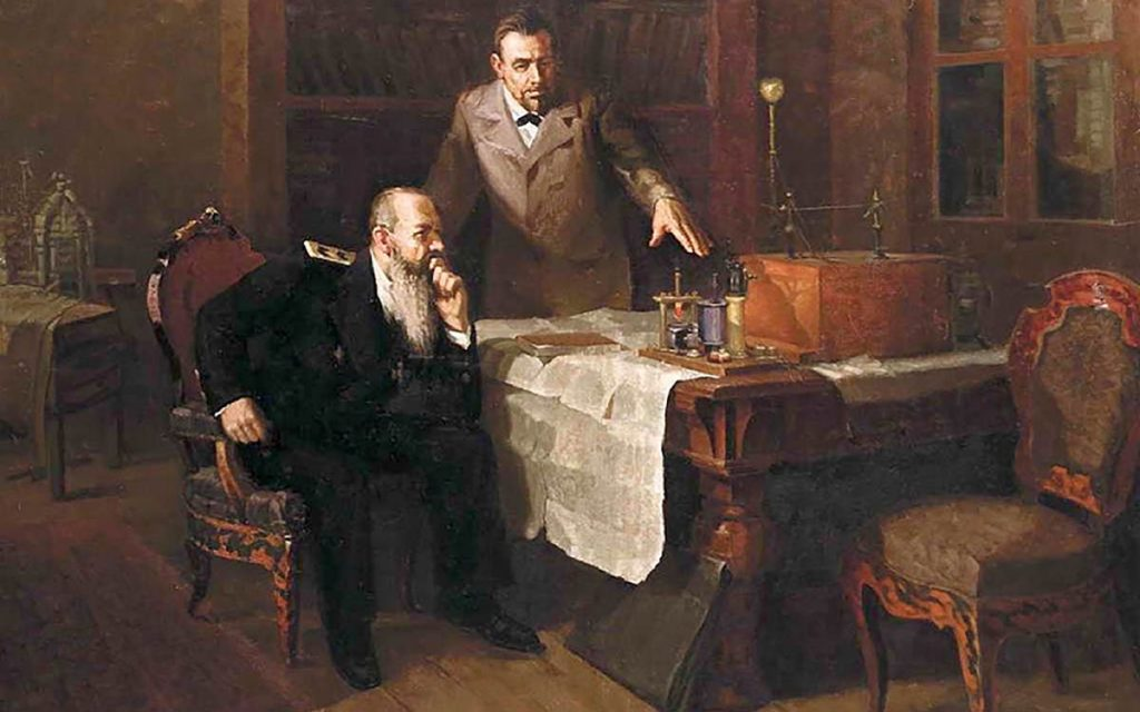 А.С. Попов демонстрирует свою радиостанцию адмиралу С.О. Макарову(И.С. Сорокин)